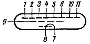 Схема соединения электродов лампы ИВ-3А