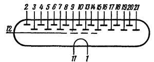 Схема соединения электродов лампы ИВ-5