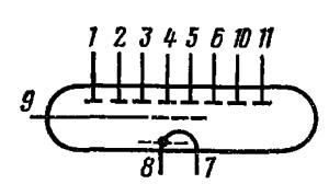 Схема соединения электродов лампы ИВ-6
