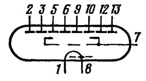 Схема соединения электродов лампы ИВ-8