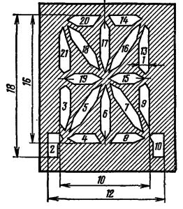 Расположение и условное обозначение анодов-сегментов ИВ-17