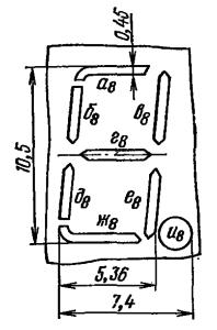 Расположение и условное обозначение анодов-сегментов ИВ-18
