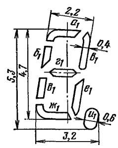 Расположение и условное обозначение анодов-сегментов ИВ-28