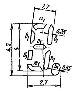 Расположение и условное обозначение анодов-сегментов ИВ-28Б
