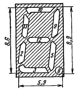 Расположение и условное обозначение анодов-сегментов ИВ-8