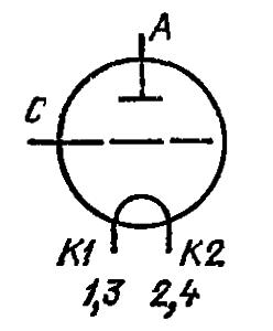 Схема соединения электродов лампы ГУ-23А