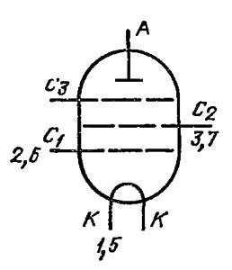 Схема соединения электродов лампы ГУ-46