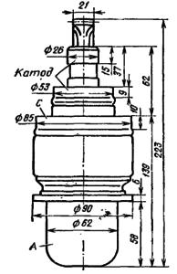 Корпус лампы ГУ-58А. Для ГУ-58Б диаметр анода с радиатором 120 мм.
