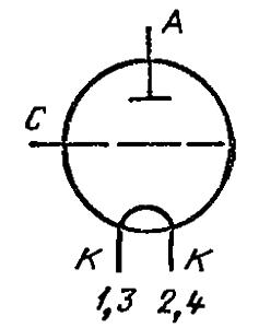 Схема соединения электродов лампы ГУ-62