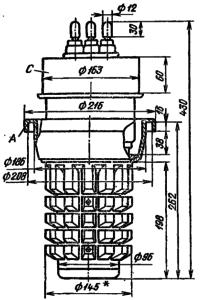 Корпус лампы ГУ-62П. Для ГУ-62А диаметр анода без радиатора 96 мм.