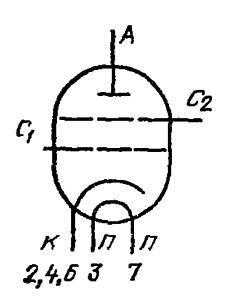 Схема соединения электродов лампы ГУ-69