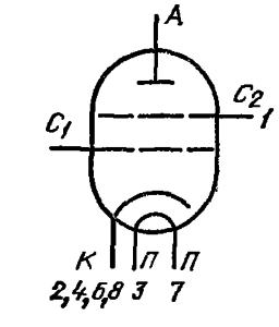 Схема соединения электродов лампы ГУ-70Б