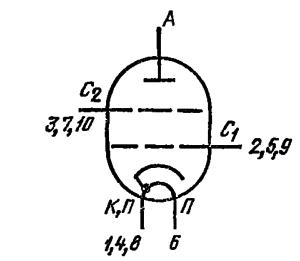 Схема соединения электродов лампы ГУ-72