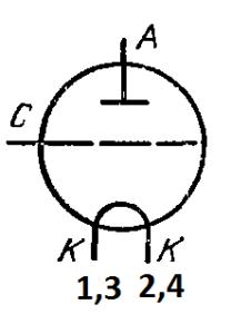 Схема соединения электродов лампы ГИ-18БМ