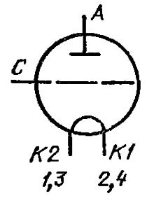 Схема соединения электродов лампы ГИ-26