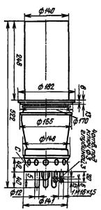 Корпус лампы ГИ-26А. Для ГИ-26Б диаметр анода с радиатором 205 мм.
