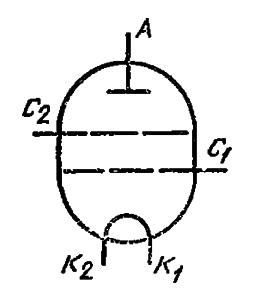 Схема соединения электродов лампы ГС-17Б