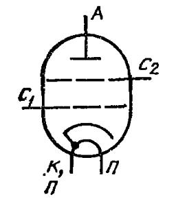 Схема соединения электродов лампы ГС-23Б