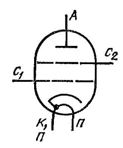 Схема соединения электродов лампы ГС-33Б