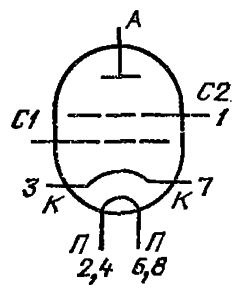 Схема соединения электродов лампы ГС-38Б