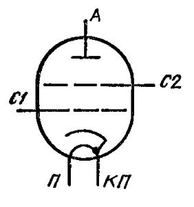Схема соединения электродов лампы ГС-39Б