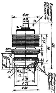 Корпус лампы ГУ-73П. Для ГУ-73Б диаметр анода с радиатором 100 мм.