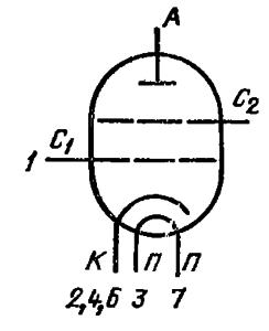 Схема соединения электродов лампы ГУ-74Б
