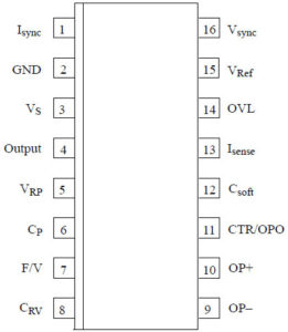 Обозначение контактов микросхемы U211B2/B3 в корпусе SO16