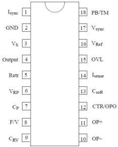 Обозначение контактов микросхемы U211B2/B3 в корпусе DIP-18