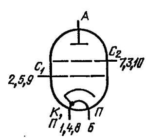 Схема соединения электродов лампы ГИ-36