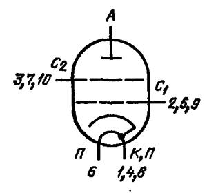 Схема соединения электродов лампы ГМИ-11
