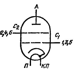 Схема соединения электродов лампы ГМИ-14Б