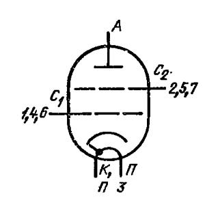Схема соединения электродов лампы ГМИ-25А