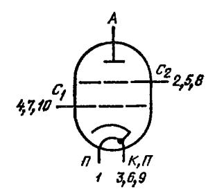 Схема соединения электродов лампы ГМИ-26Б