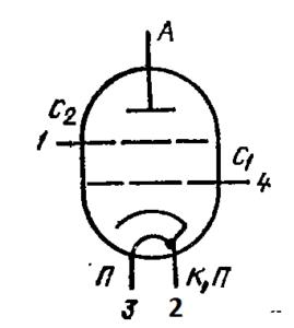 Схема соединения электродов лампы ГМИ-29