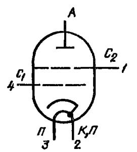 Схема соединения электродов лампы ГМИ-32