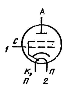 Схема соединения электродов лампы ГМИ-42Б