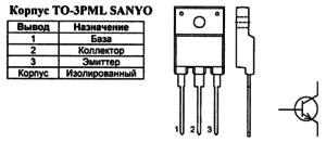 Корпус транзистора 2SC3895 и его обозначение на схеме