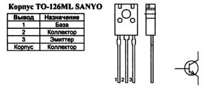Корпус транзистора 2SC3950 и его обозначение на схеме