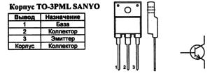 Корпус транзистора 2SC4429 и его обозначение на схеме