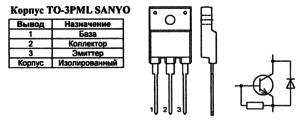 Корпус транзистора 2SC4769 и его обозначение на схеме