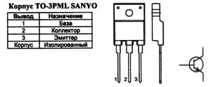 Корпус транзистора 2SC4924 и его обозначение на схеме