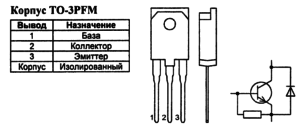 Корпус транзистора 2SC5250 и его обозначение на схеме