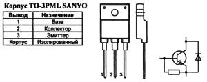 Корпус транзистора 2SC5296 и его обозначение на схеме