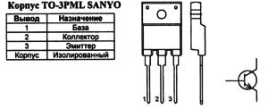 Корпус транзистора 2SD1886 и его обозначение на схеме
