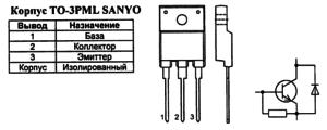 Корпус транзистора 2SD2578 и его обозначение на схеме
