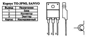 Корпус транзистора 2SD2581 и его обозначение на схеме