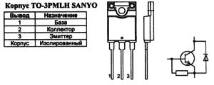 Корпус транзистора 2SD2645 и его обозначение на схеме