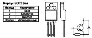 Корпус транзистора BU4508DZ и его обозначение на схеме