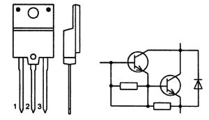 Корпус транзистора BU808DFI и его обозначение на схеме